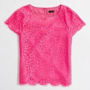 J CREW Raindrop Pink Lace Top Blouse Glee Rare